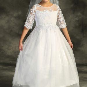 Cording Lace Waterfall First Communion Dress