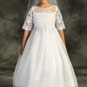 Cording Lace Waterfall First Communion Dresses