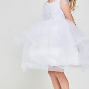 Cute Embroidered sequins first communion dress