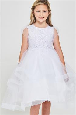 Embroidered sequins White first communion dress