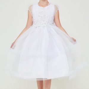 Embroidered sequins first communion dress