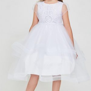Embroidered sequins first communion dress with Bolero