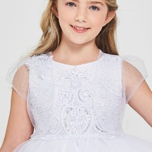 Embroidered sequins first communion dresses