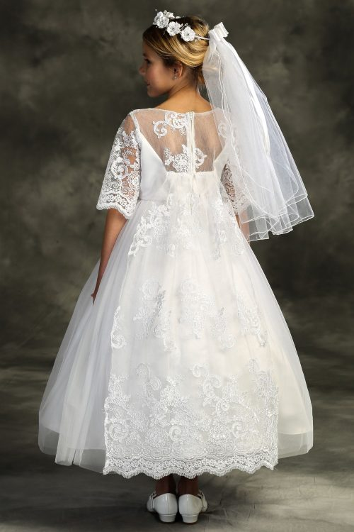 First Communion Dress Cording Lace Waterfall