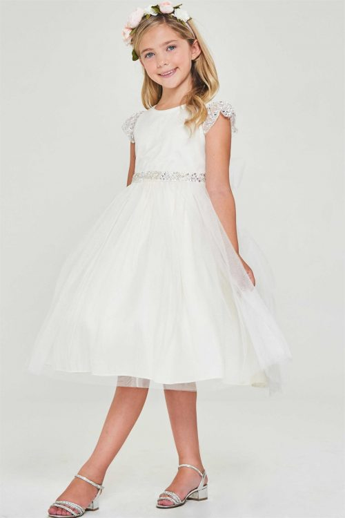 First Communion Dress with Sequin Cap Sleeves