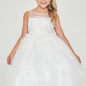 Floral embroidered Off White First Communion Dress