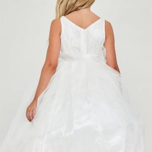 Floral embroidered satin Cheap Off White First Communion Dress
