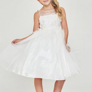 Floral embroidered satin Modern Off White First Communion Dress
