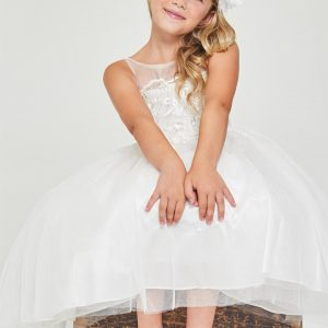 Floral embroidered satin Off White First Communion Dress