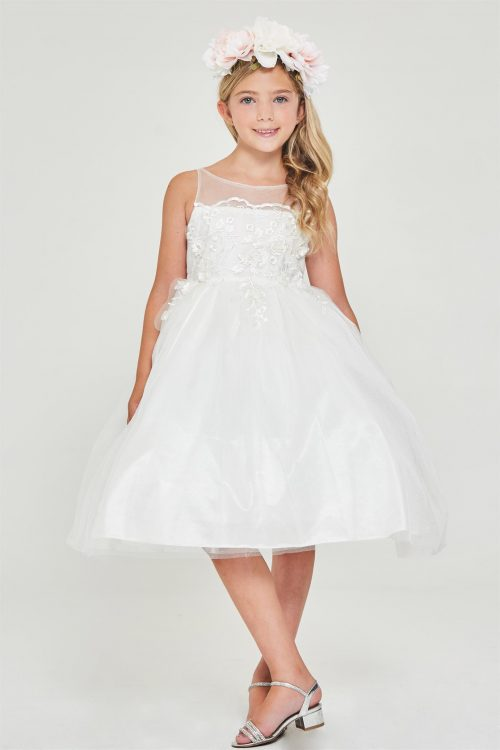 Satin Embroidered Off White First Communion Dress