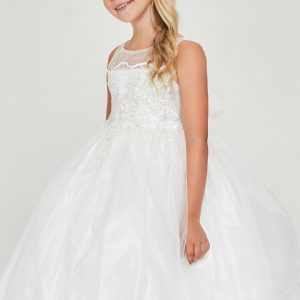 Floral satin Off White First Communion Dress