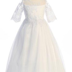 Modern Waterfall First Communion Dress Cording Lace