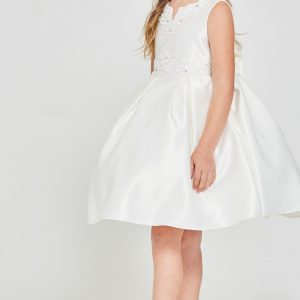Short Solid satin pleated First Communion Dress