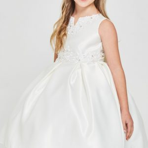 Solid satin pleated Cheap First Communion Dresses