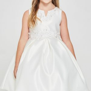 Solid satin pleated First Communion Dress