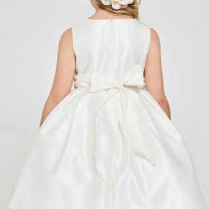 Solid satin pleated First Holy Communion Dress
