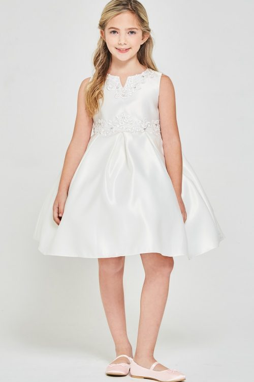 Solid satin pleated Short First Communion Dress