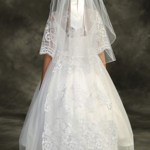 Waterfall First Communion Dress Cording Lace