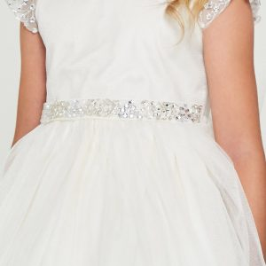 White Communion Dress with Crystal Cap Sleeves