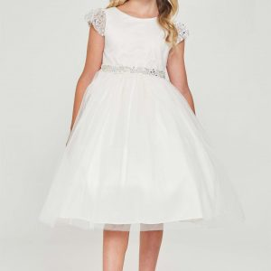 White Communion Dress with Pearl Cap Sleeves