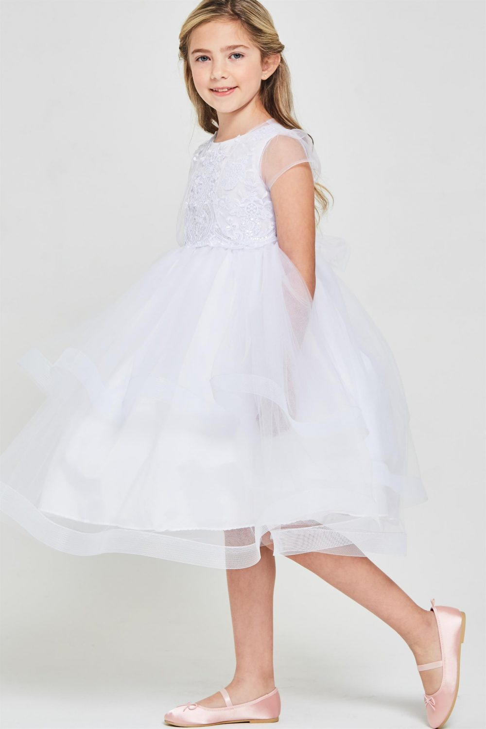 White Embroidered sequins first communion dress
