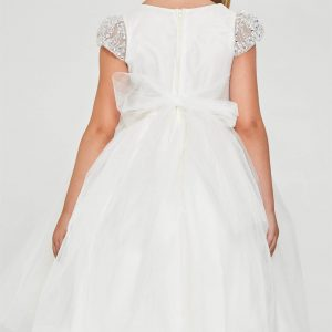 White First Communion Dress with Pearl Cap Sleeves