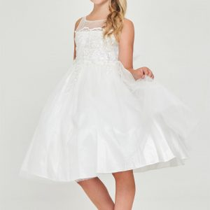 satin Off White First Communion Dress Embroidered Bodice