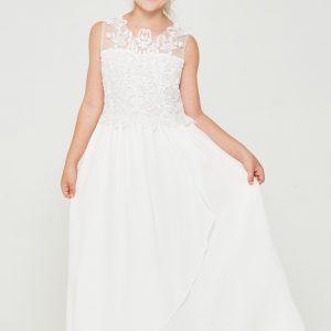Beautiful Embroidered lace chiffon First Communion Dress