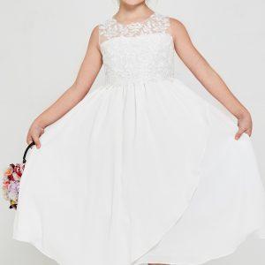 Cheap Embroidered lace chiffon First Communion Dress