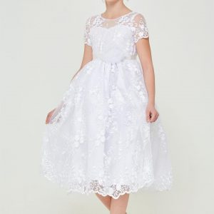 Cheap Floral Embroidered Lace First Communion Dress with Short Sleeves