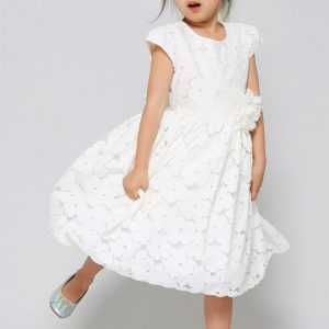 Cotton floral lace flared First Communion Dresses