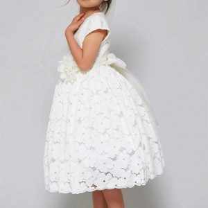 Cute Cotton floral lace flared First Communion Dress
