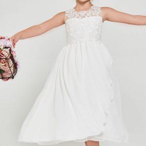 Cute Embroidered lace chiffon First Communion Dress