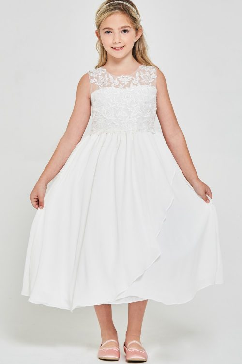 Embroidered lace chiffon 1st Communion Dress
