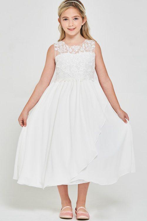 Embroidered lace chiffon 1st Communion Dress