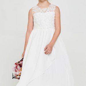 Embroidered lace chiffon Communion Dress