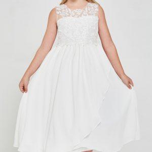 Embroidered lace chiffon First Communion Dress