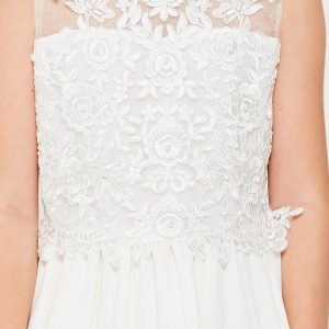 Embroidered lace chiffon First Communion Dress Pearl Bodice