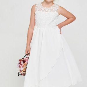 Embroidered lace chiffon First Holy Communion Dress