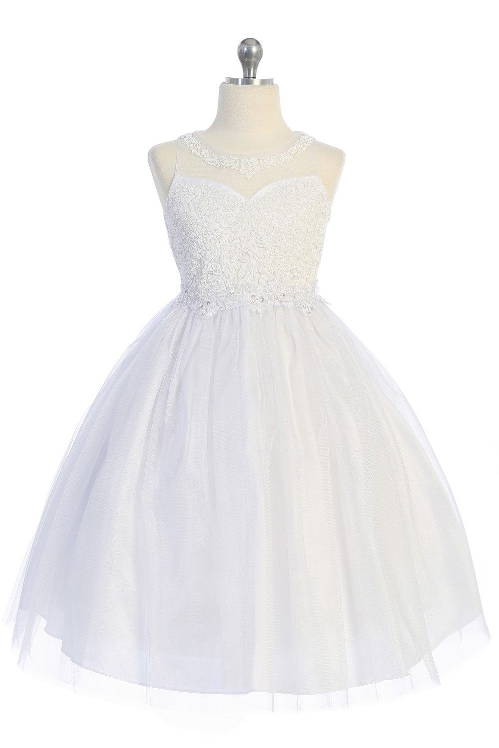 Embroidered lace tulle first communion dress
