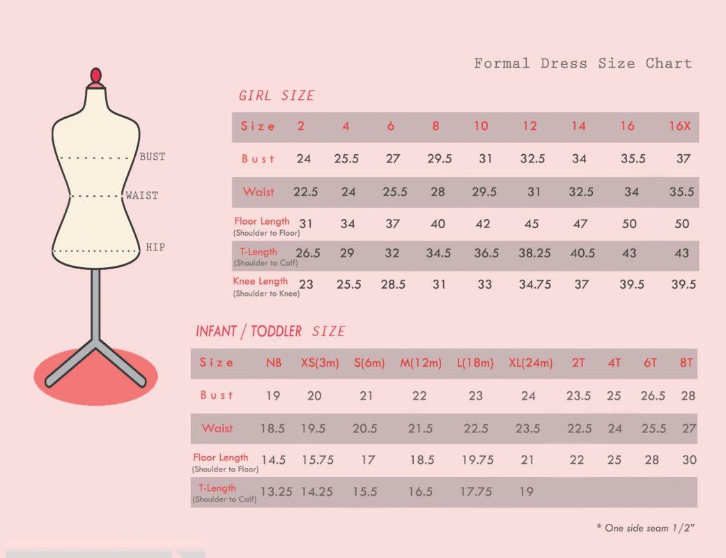FORMAL DRESS SIZE CHART