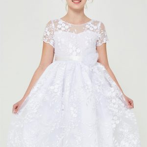 Floral Embroidered Lace First Communion Dress
