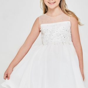Floral embroidered Chiffon First Holy Communion Dress