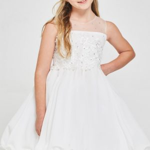 Floral embroidered First Communion Dress Chiffon