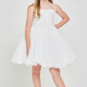 Girls Floral embroidered Chiffon First Communion Dress
