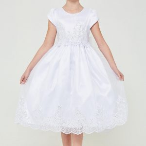 Girls Short Sleeve First Communion Dress with Lace