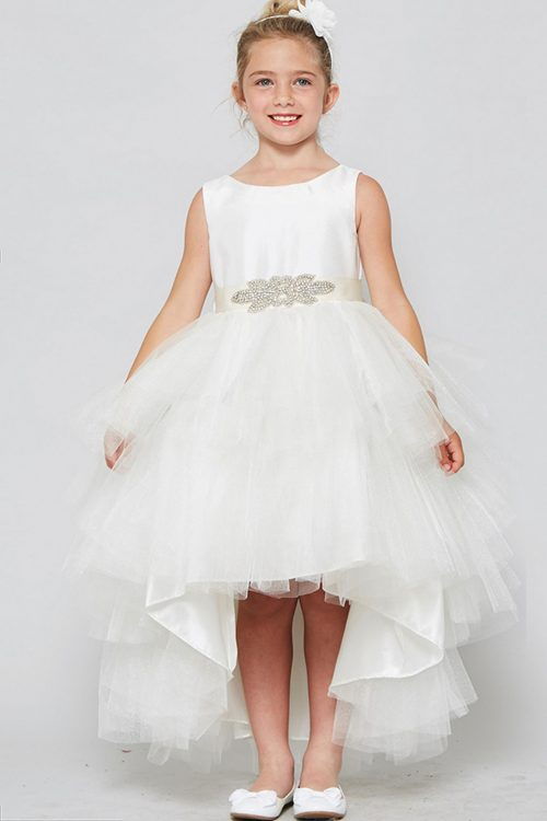 High Low First Communion Dress with Double Layer Skirt