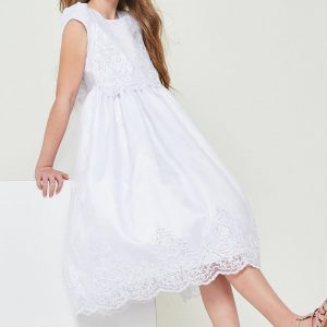 Inexpensive Short Sleeve First Communion Dress with Lace