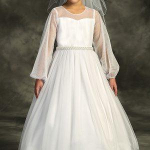 Long Mesh Sleeve Pearl Communion Dress