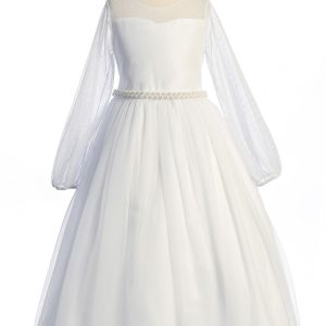 Long Mesh Sleeve Pearl First Communion Dress